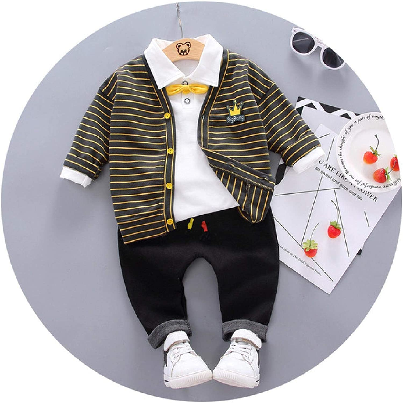 Herbst Kinderkleidung Cardigan T-Shirt und Hose 3-teiliges Kleidungsset f/ür Jungen Baumwolle Jungen Jungenkleidung Kinderkleidung