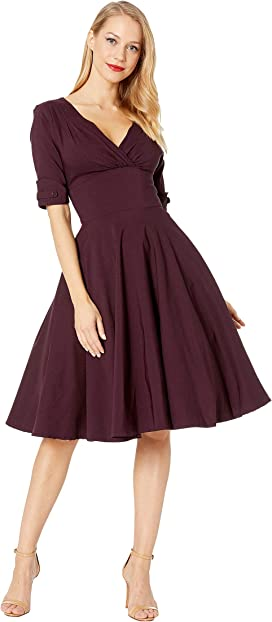 3949a61a9b6 Unique Vintage 3 4 Sleeve Delores Swing Dress at Zappos.com