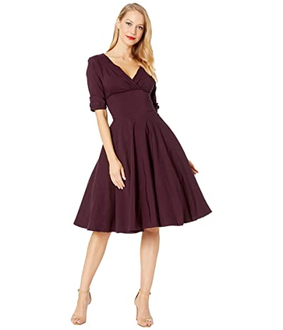 Unique Vintage 1950s Delores Swing Dress with Sleeves (Eggplant Purple) Women