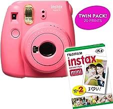 Fujifilm Instax Mini 9 Instant Print Camera (Renewed) Plus Twin Pack Film Starter Bundle   10 Sheets x 2 = 20 White Frame Instant Exposure Photograph Sheets (Flamingo Pink)