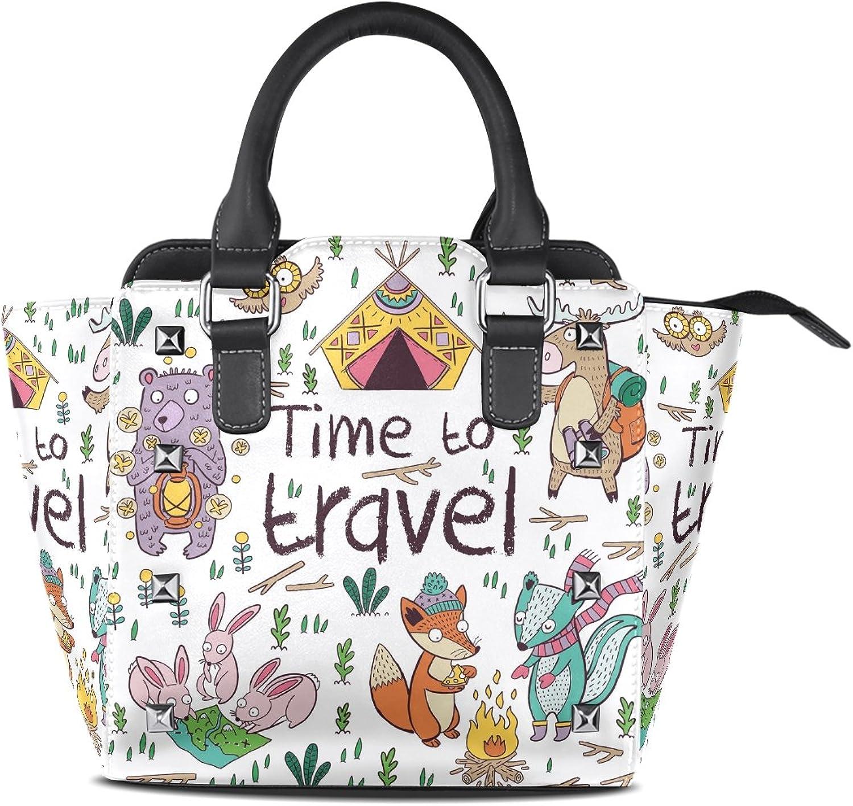My Little Nest Women's Top Handle Satchel Handbag Time to Travel Animals Ladies PU Leather Shoulder Bag Crossbody Bag