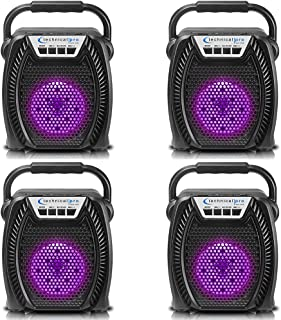 $74 » Sponsored Ad - (Qty 4) Technical Pro Portable Rechargeable LED Bluetooth Speaker with USB, SD Card, FM Radio, 4-inch Woofe...