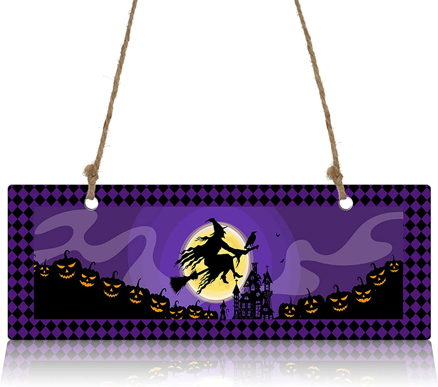 Wall Sign Wood Denver Mall Plaque Halloween Scary Yellow Max 64% OFF with Witch Moon Wel