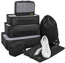 Heasy Packing Cubes for Travel 7 Set Luggage Packing Organizers 210D Nylon Suitcase Storage Bags with Makeup Bag, Shoe Bag, Laundry Bag and Cable Travel Organizer Accessories(Black)
