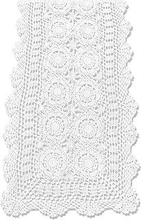 KEPSWET Cotton Handmade Crochet Lace Table Runner White Rectangle Coffee Table Dresser Decor (14x36 inch)