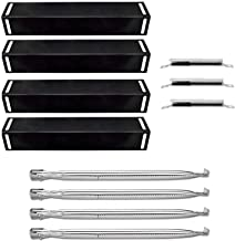 Uniflasy Replacement Parts Kit for Charbroil 4 Burner 463211512, 463211513, 463211514 Gas Grill, Stainless Steel Grill Burner Tube, Porcelain Steel Heat Plate Shield Tent, Adjustable Crossover Tube