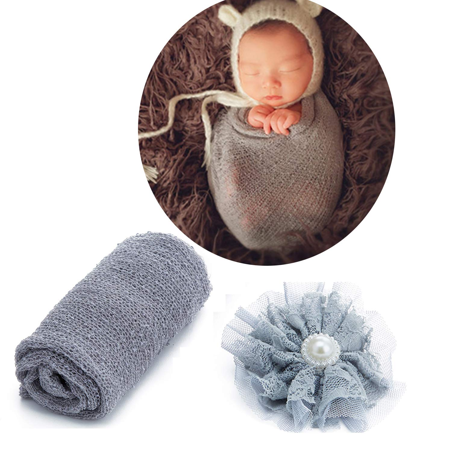 Stretch-Strickdecke lange Ripple Wraps kaffeefarben Baby-Stirnband DIY Rehomy Baby-Foto-Requisiten