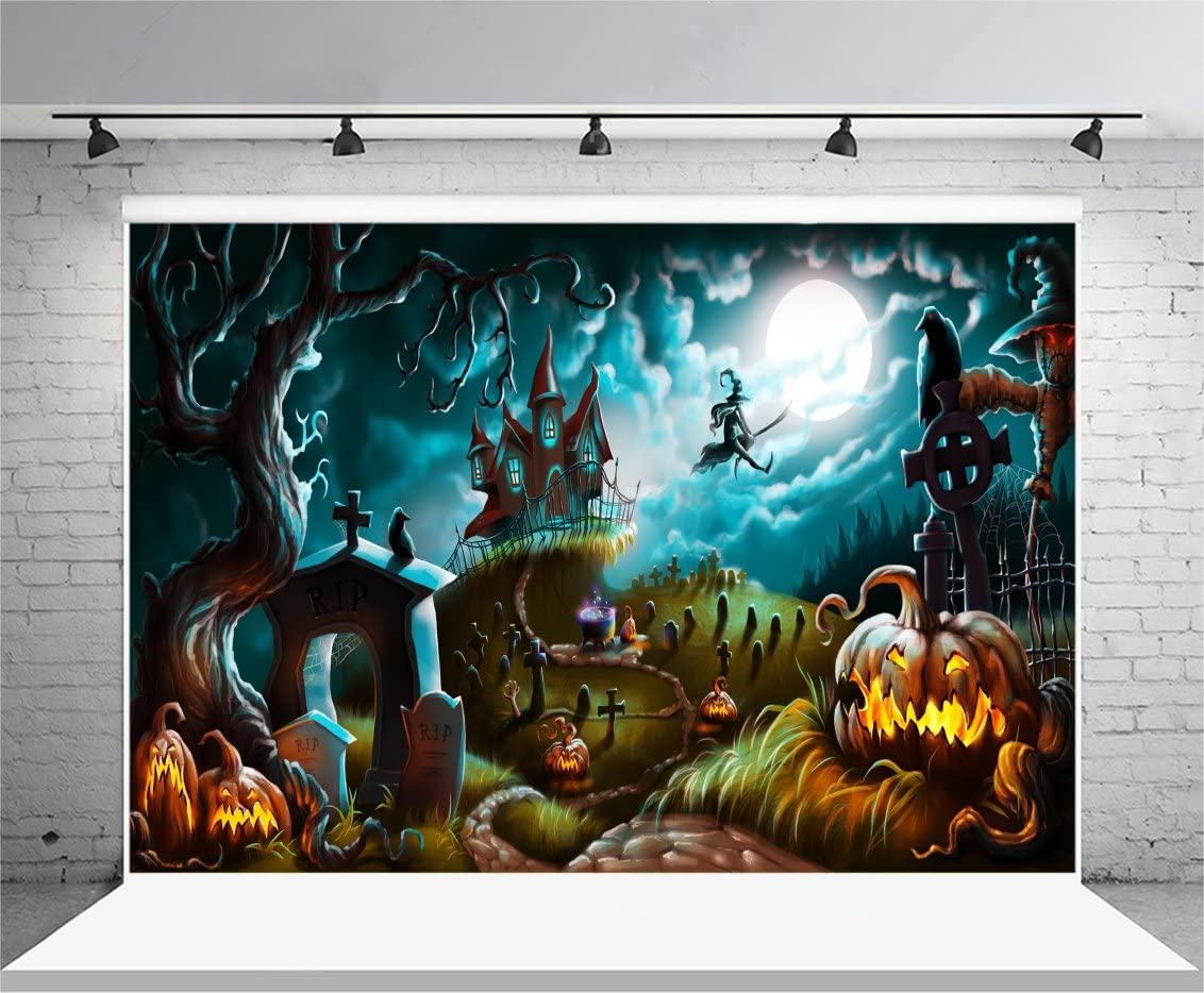 AOFOTO 7x7ft Halloween Moon Night Backdrop Scary Haunted Castle Horror Graveyard Photography Background Cross Cemetery Sorceress Ghost Gravestone Witch Grimace Pumpkin Lantern Party Photo Studio Props