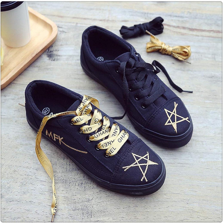 Sianaoi Women's Canvas Flat shoes 2018 Fashion Lace Up Women Sneaker Woman Casual Comfortable Flats Footwear Tenis Feminino gold 36