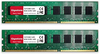 Gigastone DDR3 16GB (8GBx2) 1600MHz PC3-12800 CL11 1.5V UDIMM 240 دبوس غير مصقول غير مصقول غير ECC للكمبيوتر المكتبي وحدة ...
