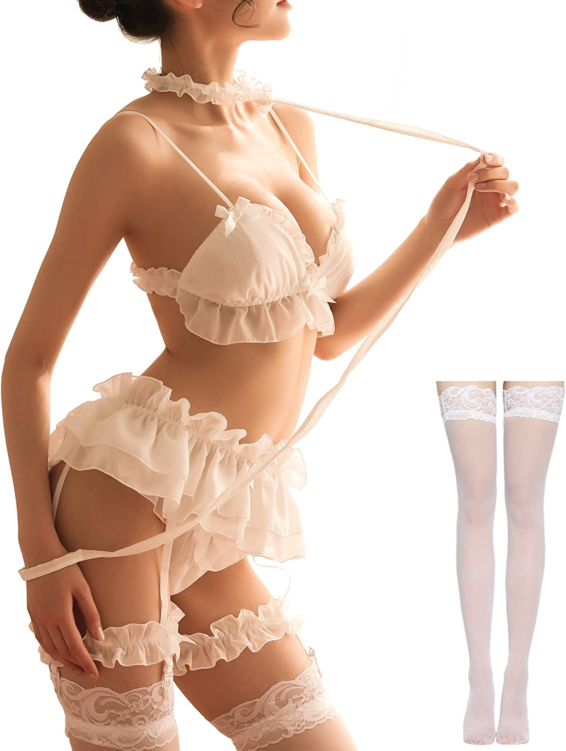 Women's Sexy Cosplay Lingerie Set Doll Outfit low-pricing Teddy Max 68% OFF Baby Ruffle