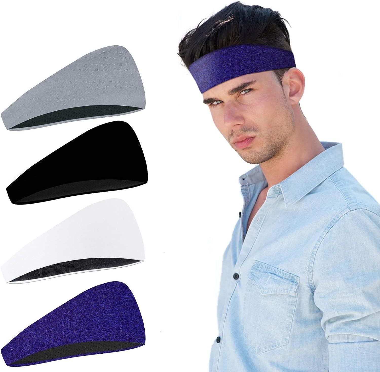 Training Hairband Performance Stretch /& Moisture Wicking for Workout,Yoga,Gym,Bike 4 Pack Non Slip Sweatband Running Sports Headband for Men//Women Elimoons 2-Layer Mens Headband Basketball