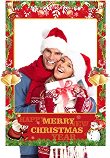 2 in 1 Christmas Photo Booth Props Frame Party Supplies - Christmas New Year Party Decorations