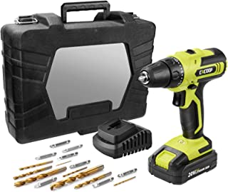 CACOOP 20V MAX Cordless Drill Set with Battery and Rapid Charger, Robust Titanium Plated Drill Bits,LIght Weight Battery P...