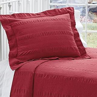 Orvis Solid Seersucker Bedspread/Queen, Red,