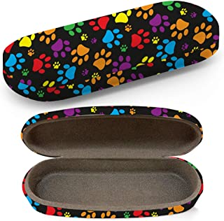 Hard Shell Glasses Protective Case with Cleaning Cloth for Eyeglasses and Sunglasses - Colorful Paw Print