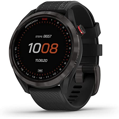 """Garmin Approach S42, GPS Golf Smartwatch, Lightweight with 1.2"""" Touchscreen, 42k+ Preloaded Courses, Gunmetal Ceramic Bezel and Black Silicone Band, 010-02572-10"""