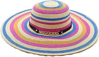 2018 New Stitching Color Striped Visor Lady's Big Straw hat Summer Travel Beach hat Sun hat