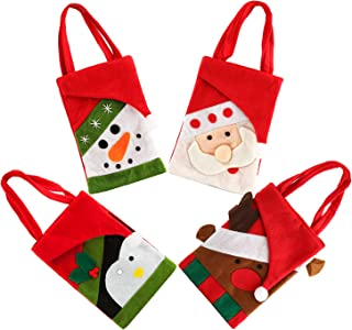 4pcs Christmas Tote Bags Holiday Candy Gift Bag Set Small Shopping Treat Handbag Xmas Snowman Santa Claus Goodie Grocery Bag for Kids Children Home Decorations, 8.2 × 5.7 Inch