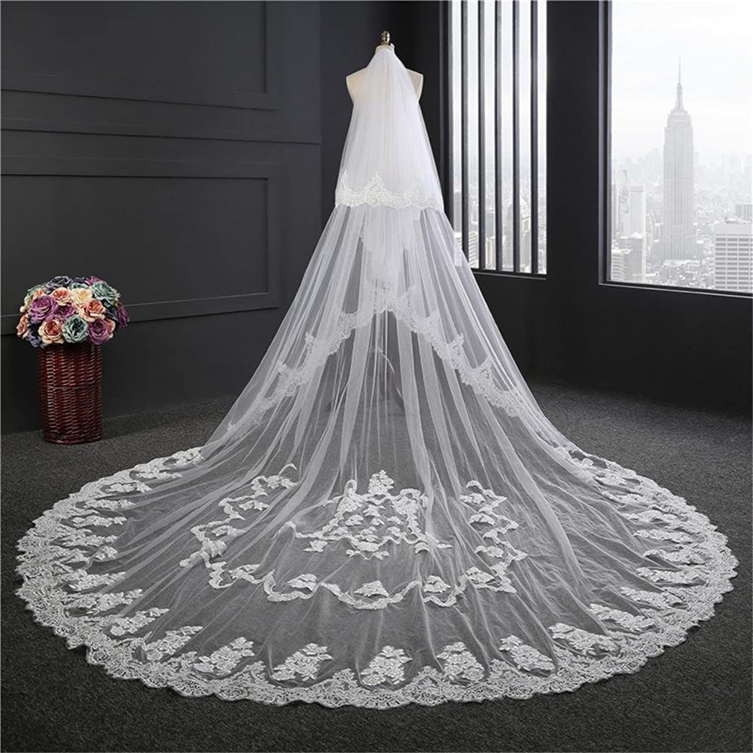 Bridal Veils 3.5 Meters Long 3M Width Wedding Bride Veil White Ivory Lace Edge With Comb Wedding Accessories