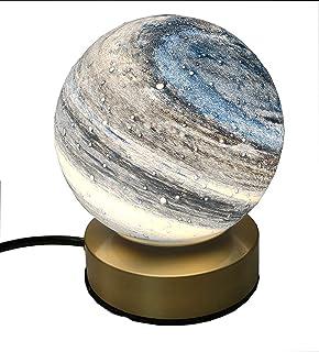 Lámpara de mesa de vidrio planetario, cuerpo del portalámparas de cobre, pantalla de vidrio redonda, lámpara de noche, dormitorio familiar, mesita de noche, lámpara de mesa de café