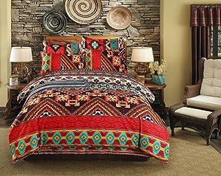 skyfiree Bohemian Duvet Cover Set 3 Pcs Queen Size Mandala Duvet Cover Ethnic Exotic Style Boho Bedding Set 1 Duvet Cover ...