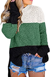 Imily Bela Womens Fuzzy Knitted Sweater Sherpa Fleece...