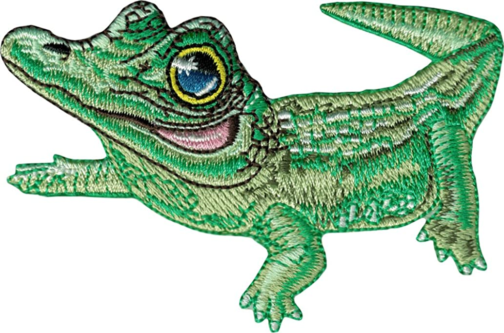 Alligator Wearing a Monocle - Embroidered Iron On or Sew On Patch