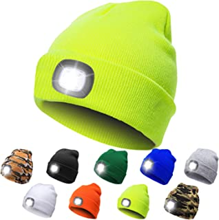 HAODIAN LED Beanie Cap Unisex USB Rechargeable Winter Warmer Knit Beanie Hat Cap for Camping,Fishing,Jogging or Working