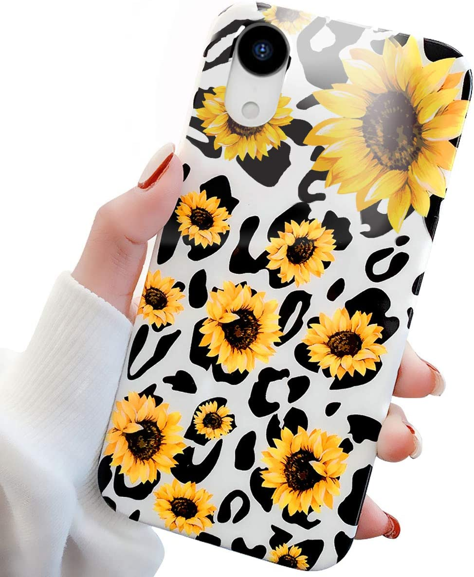 GLBYDLO Compatible with iPhone XR Case, 6.1 inch,Leopard Cheetah Sunflower Print Cute Cases for Girls Women Slim Fit Flexible Soft Cover Protective Phone Case(Sunflower Leopard)