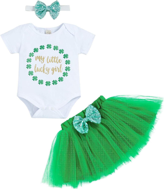 Toddler Baby Girls St.Patrick's Day Skirt Set My Little Lucky Girl Clover Romper + Tutu Skirt + Bowknot Headband