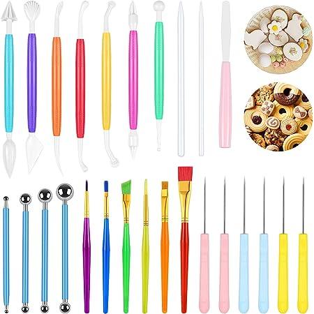 SelfTek 26 piezas de herramientas de decoración de pasteles de galletas fondant para esculpir pasteles herramientas de modelado para decoración de galletas, juego de brochas de azúcar para decorar pasteles, galletas, dulces, postres