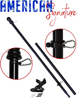 American Signature Flag Pole and Bracket Holder Kit: Includes 2019 New Enhanced Design Aluminum Tangle Free Spinning Flagpole with Carabiners and Outdoor Wall Mount Bracket (Black, 6')