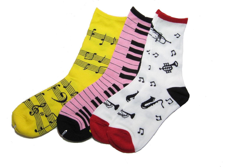 ミュージックギフト 音符柄 鍵盤柄 楽器柄 ソックス カラーアソート (6足セット)