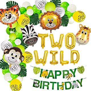 JOYMEMO Jungle Theme 2nd Birthday Party Supplies Safari Balloons Garland Arch Kit Decorations, Two Wild Animals Balloons, Green Artificial Palm Leaves