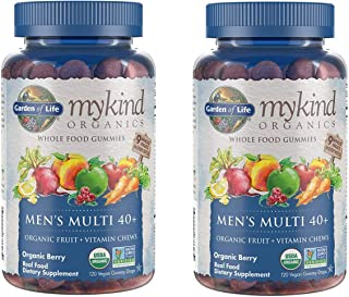 MyKind Organics Men's Multi 40+ Whole Food, Organic Vitamin Chews in Delicious Organic Berry (120 Vegan Gummy Drops) Pack ...