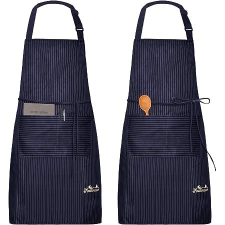Viedouce 2 Pack Tabliers de Cuisine Etanche,Tablier Réglable avec Poches pour Cuisine Familial,Restaurant,Jardin,Tablier pour Serveurs,Serveuse (Rayure Marine)