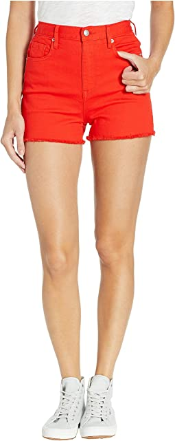 Red Denim Shorts with Side Stripe