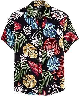 SANFASHION 2020 Newest Summer Men Short Sleeve Shirts Hawaiian Shirt Top Printed Flower Slim Fit Casual Lightweight Breath...