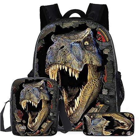 Mochila para Niños, Mochilas Dinosaurio con Bolsa de Hombro para Almuerzo Estuche para Lápices Conjunto de Mochilas Escolares de Impresión 3D para Niños