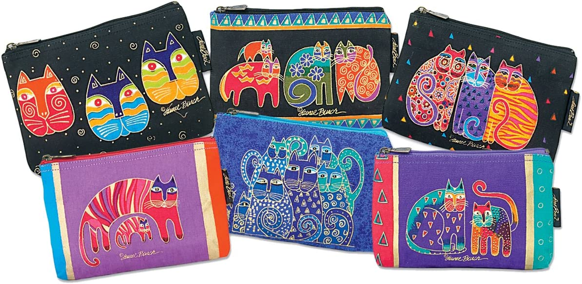 Sale price Laurel Burch Cosmetic Bag Zipper safety Assorted Feline Prints Top