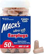 Mack's Ultra Soft Foam Earplugs, 50 Pair - 33dB Highest NRR, Comfortable Ear Plugs for Sleeping, Snoring, Travel, Concerts...