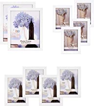 SONGMICS Picture Frames Set of 10, Two 8 x 10 Inch, Four 5 x 7 Inch, Four 4 x 6 Inch, Collage Photo Frames, Clear Glass Front, White URPF10WT