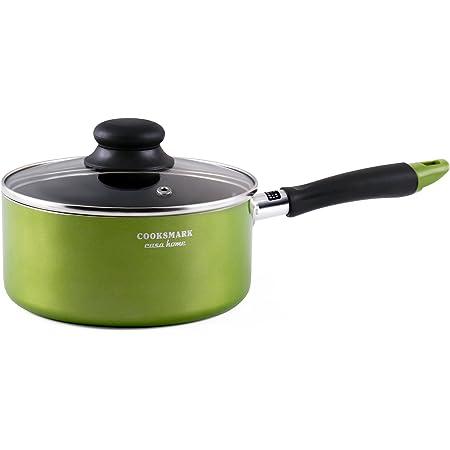 COOKSMARK 片手鍋 18cm ガラス鍋蓋付 IH対応 フッ素加工 茹で物 ラーメン鍋 グリーン