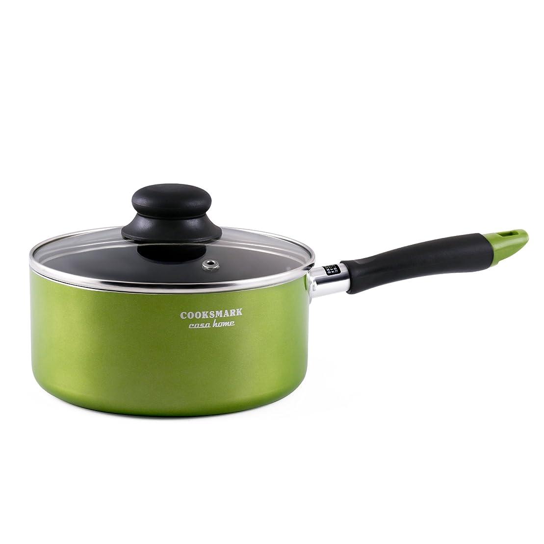 消す効能ある治療片手鍋 18cm ガラス鍋蓋付 IH対応 フッ素加工 グリーン