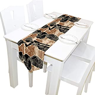 NotApplicable Corredores De Mesa Decorativos Hermosas Mujeres Africanas Étnicas Tribales Vacaciones Banquete Aparador Buf...