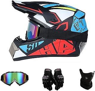 LCRAKON Casco da Motocross Bambini con Occhiali Maschera e Guanti Bike Casco Integrale da Corsa Caschi Downhill Casco BMX Caschi per Bici da Corsa Casco Cross Bambino UFO Nero Lucido