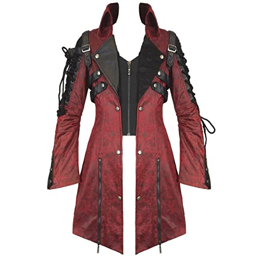 8d3d7345 Punk Rave Poison Jacket Mens Red Black Faux Leather Goth Steampunk Military  Coat