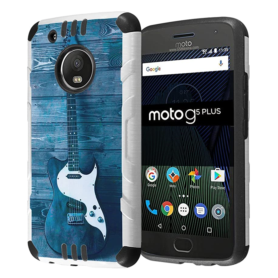 Moto G5 Plus Case, Capsule-Case Hybrid Dual Layer Slim Defender Armor Combat Case (White & Black) for Motorola Moto G5 Plus/Moto G Plus 5th Gen, XT1687 - (Guitar)