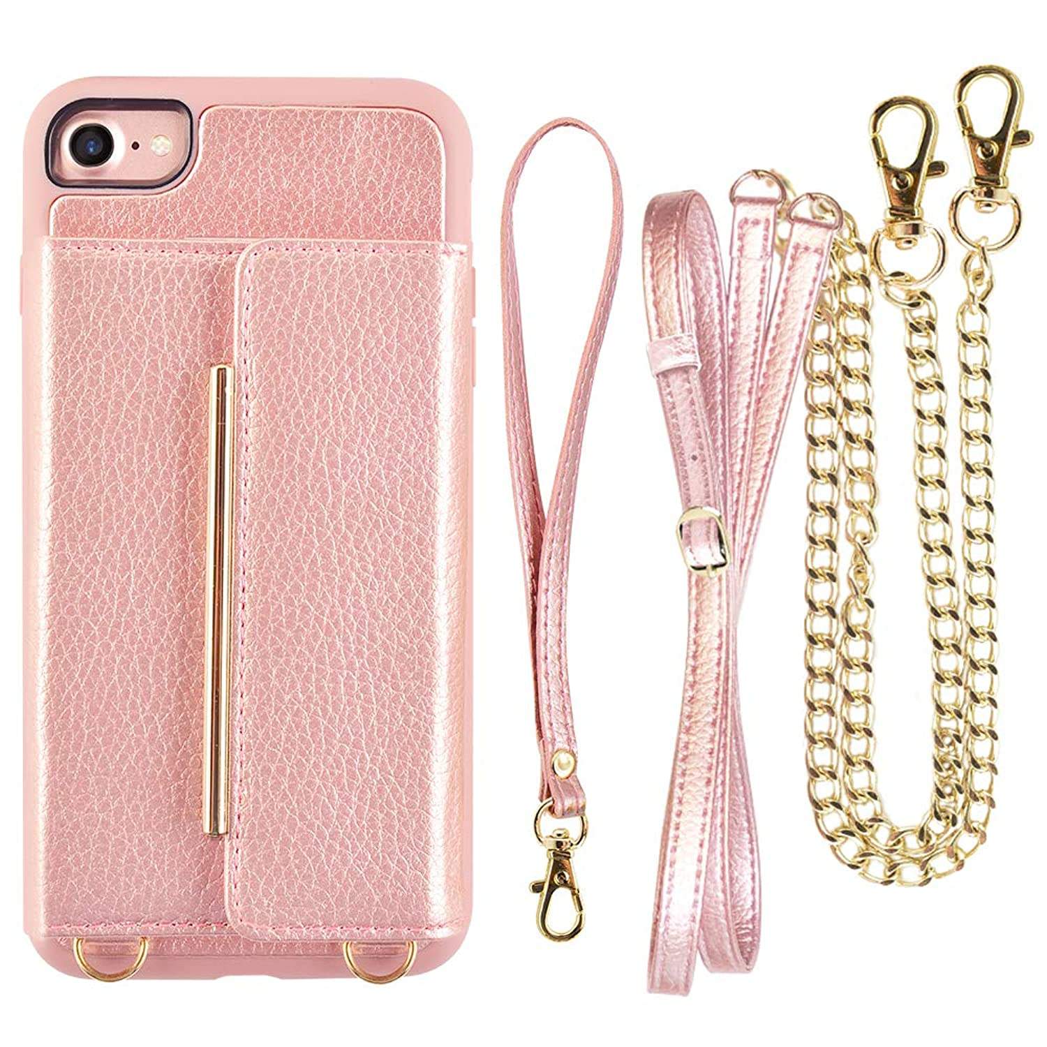 iPhone 8 Crossbody Case, ZVEdeng iPhone 7 Wallet Case, iPhone 7 Card Holder Case, iPhone 8 Card Case, Wallet iPhone 8 Case Leather with Stand-Rose Gold
